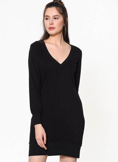 Braez Uzun Kollu V Yaka Elbise Siyah